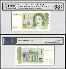 Germany 5 Deutsche Mark, 1991, P-37, Replacement/Star, PMG 68