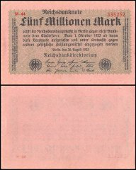 Germany 5 Million Mark Banknote, 1923, P-105, UNC