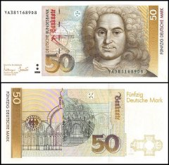 Germany 50 Deutsche Mark Banknote, 1993, P-40C, UNC, Replacement