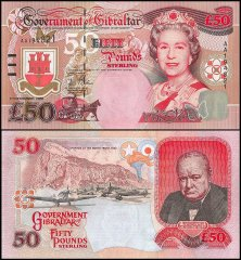 Gibraltar 50 Pounds Banknote, 2006, P-34a, UNC, Queen Elizabeth II