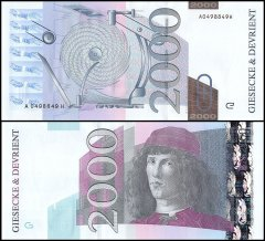 Giesecke & Devirent 2,000 Test Banknote, Germany, UNC