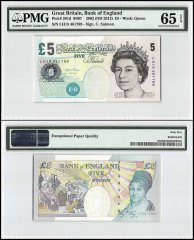 Great Britain 5 Pounds, 2002 - ND 2012, P-391d, Queen Elizabeth II, PMG 65