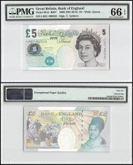 Great Britain 5 Pounds, 2002 - ND 2012, P-391d, Queen Elizabeth II, PMG 66