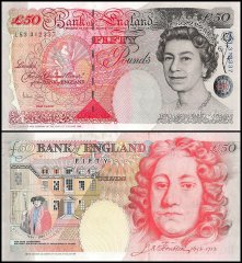 Great Britain 50 Pounds Banknote, 2006, P-388c, UNC, Queen Elizabeth II