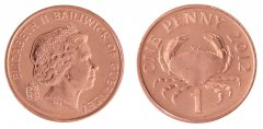 Guernsey 1 Penny 3.56g Copper Plated Coin, 2012, KM # 89, Mint, Queen Elizabeth II, Crab