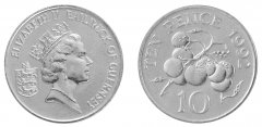 Guernsey 10 Pence 6.5g Copper Nickel Coin, 1992, KM # 43, Mint, Queen Elizabeth II, Tomatos