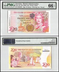 Guernsey 20 Pounds, ND 1996, P-58c, Queen Elizabeth II, PMG 66