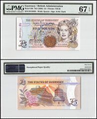 Guernsey 5 Pounds, ND 1996, P-56b, Queen Elizabeth II, PMG 67