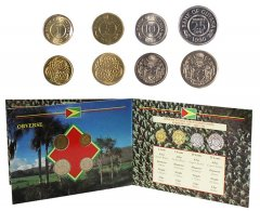 Guyana 1 - 25 Cents Nickel Brass/CuNi, 4 Piece Coin Set, 1990-92, Mint