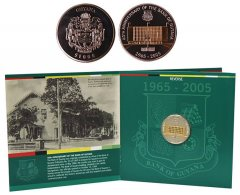 Guyana 1,000 Dollars 28g CuNi Coin, 1965-2005, Mint, 40th Bank Anniversary