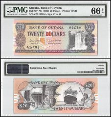 Guyana 20 Dollars, ND 1989, P-27, PMG 66