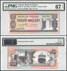Guyana 20 Dollars, ND 1989, P-27, PMG 67