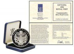 Guyana 50 Dollars 28g Silver Proof Coin, KM # 48, 1994, Mint, Royal Visit