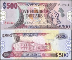 Guyana 500 Dollars Banknote, 2002, P-34a, UNC