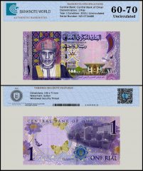 Oman 1 Rial Banknote, 2015, P-48a, UNC, TAP 60 - 70 Authenticated
