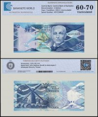Barbados 2 Dollars Banknote, 2013, P-73, UNC, TAP 60 - 70 Authenticated