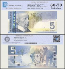 Canada 5 Dollar Banknote, 2010, P-101Ad, UNC, TAP 60 - 70 Authenticated