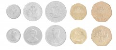 Haiti 5 - 50 Centimes & 1 to 5 Gourdes, 5 Piece Coin Set, 1997-2013, Mint