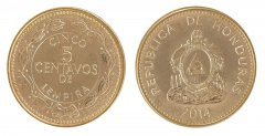 Honduras 5 Centavos 3.2g Brass Plated Steel Coin, 2014, Coat of Arms, Mint