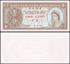 Hong Kong 1 Cent Banknote, 1992-95, P-325e, UNC, Queen Elizabeth II, Government of Hong Kong