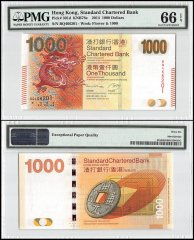 Hong Kong 1,000 Dollars, 2014, P-301d, Standard Chartered Bank, PMG 66