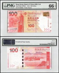 Hong Kong 100 Dollars, 2014, P-343d, Bank of China, PMG 66