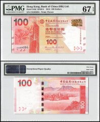 Hong Kong 100 Dollars, 2014, P-343d, Bank of China, PMG 67