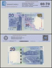 Hong Kong 20 Dollars Banknote, 2010, P-341a, UNC, TAP 60-70 Authenticated