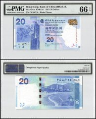 Hong Kong 20 Dollars, 2013, P-341c, Bank of China, PMG 66