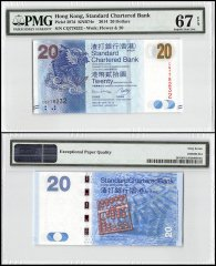 Hong Kong 20 Dollars, 2014, P-297d, Standard Chartered Bank, PMG 67