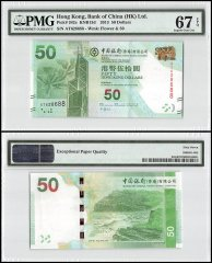 Hong Kong 50 Dollars, 2013, P-342c, Bank of China, PMG 67
