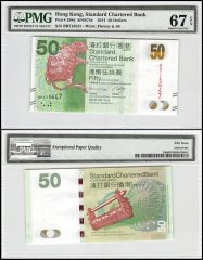 Hong Kong 50 Dollars, 2014, P-298d, Standard Chartered Bank, PMG 67