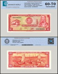 Peru 10 Soles de Oro Banknote, 1975, P-106, UNC, TAP 60 - 70 Authenticated