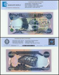 Iraq 5,000 Dinars Banknote, 2013, P-100, UNC, TAP Authenticated
