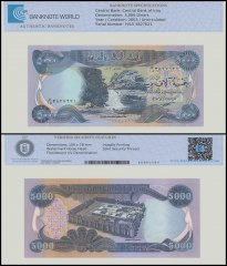 Iraq 5,000 Dinars Banknote, 2003, P-94a, UNC, TAP Authenticated
