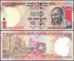 India 1,000 Rupees Banknote, 2015, P-107, UNC
