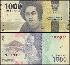 Indonesia 1,000 Rupiah Banknote, 2016, P-NEW, UNC
