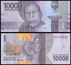 Indonesia 10,000 Rupiah Banknote, 2016, P-157, USED