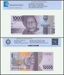 Indonesia 10,000 Rupiah Banknote, 2016, P-157, UNC, TAP Authenticated
