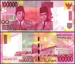 Indonesia 100,000 Rupiah Banknote, 2014, P-153f, Replacement, UNC