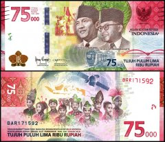 Indonesia 75,000 Rupiah Banknote, 2020, P-NEW, UNC