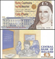 Ireland 5 Pounds Banknote, 1999, P-75b, UNC