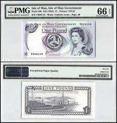 Isle of Man 1 Pound, 1983, P-40b, Queen Elizabeth II, PMG 66
