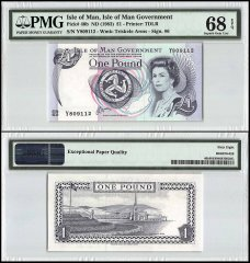 Isle of Man 1 Pound, 1983, P-40b, Queen Elizabeth II, PMG 68