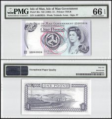 Isle of Man 1 Pound, ND 1983, P-40c, Queen Elizabeth II, PMG 66