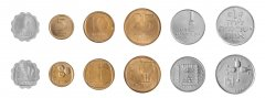 Israel 1 Agora - 1 Lira 6 Pieces Coin Set, 1972, KM # 24 - 47, Mint, In Acrylic Holder