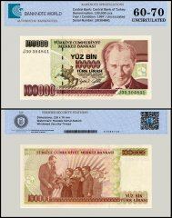 Turkey 100,000 Lira Banknote, 1997, P-206a, Prefix-J, UNC, TAP 60 - 70 Authenticated