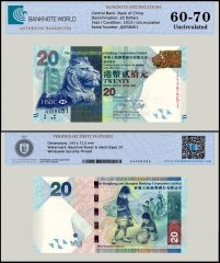 Hong Kong 20 Dollars Banknote, 2013, P-212c, UNC, TAP 60-70 Authenticated