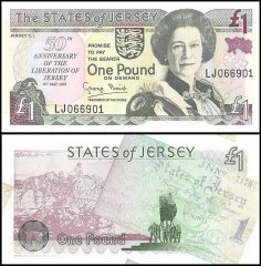 Jersey 1 Pound Banknote, 1995, P-25, UNC, 50th Anniversary Commemorative Note, Queen Elizabeth II