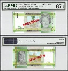 Jersey 1 Pound, ND 2010, P-32s, GD Series, Queen Elizabeth II, Specimen, PMG 67